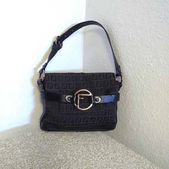 Fendi Handbags - Fendi Black/Brown Signature Jacquard Bag
